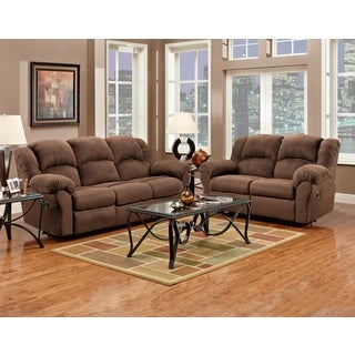 Aruba Chocolate Microfiber Dual Reclining Sofa and Loveseat Set