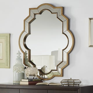Paisley Oval Quatrefoil Frame Accent Wall Mirror