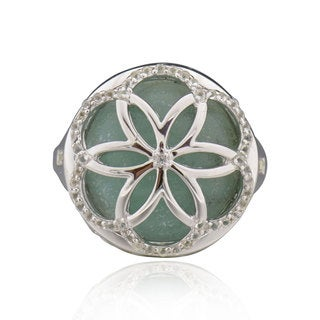 Sterling Silver Round Amazonite and White Topaz Ring (China)