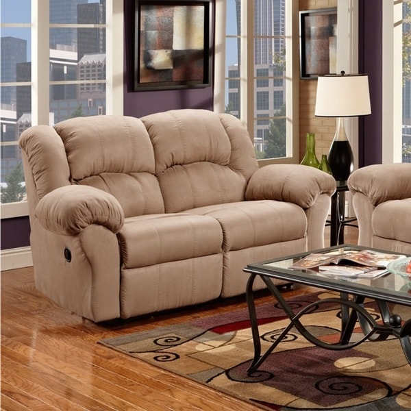 Sensation Microfiber Dual Reclining Sofa Loveseat Set Camel Tan