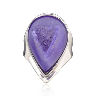 Sterling Silver Bezel-set Pear Druzy Ring (China)