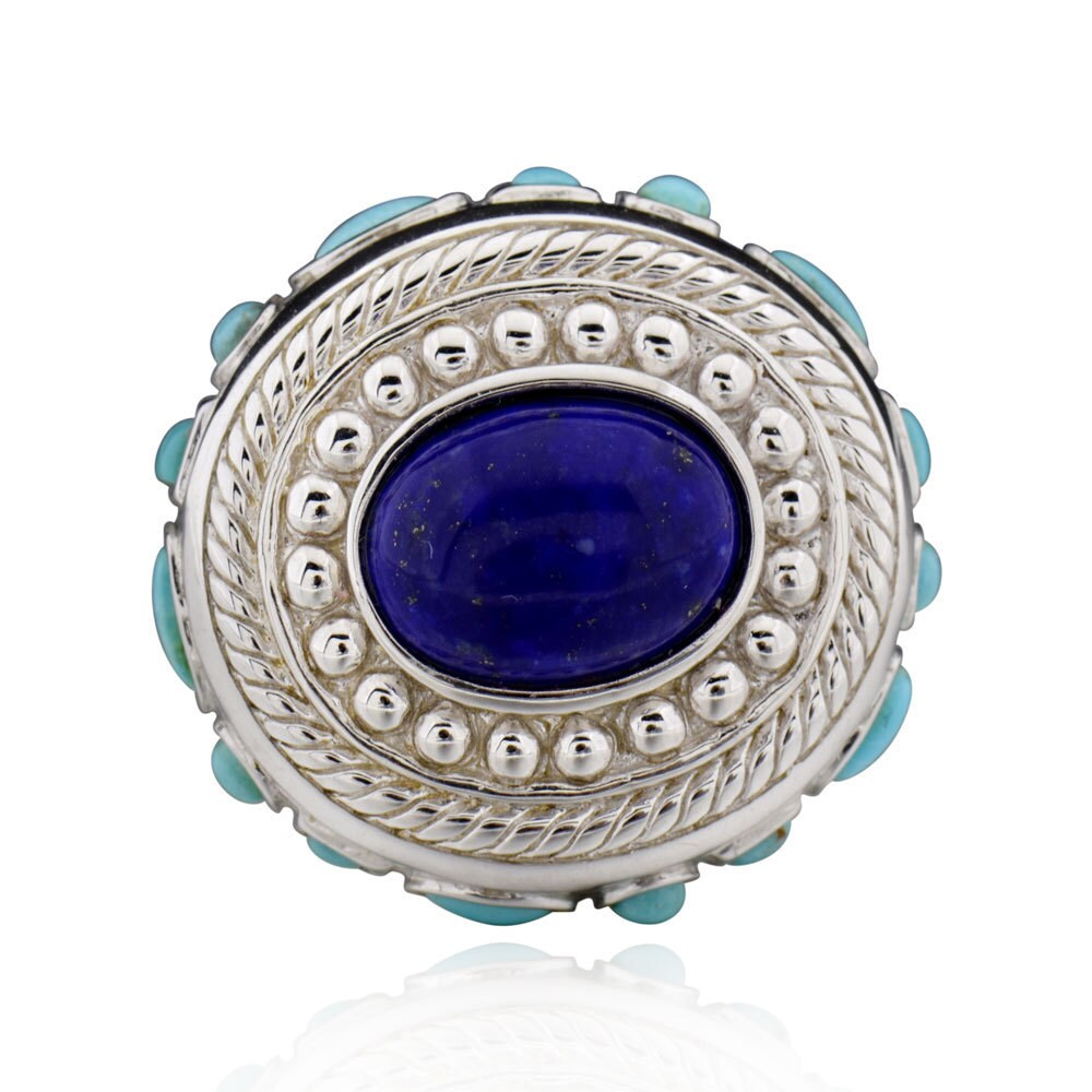 FD Sterling Silver Oval Lapis and Turquoise Ring (7), Wom...