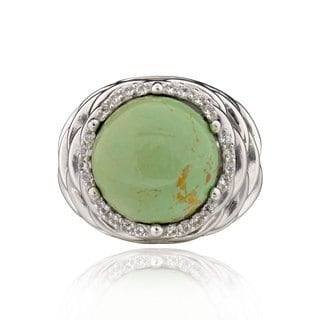 Sterling Silver Round Turquoise And White Topaz Ring China