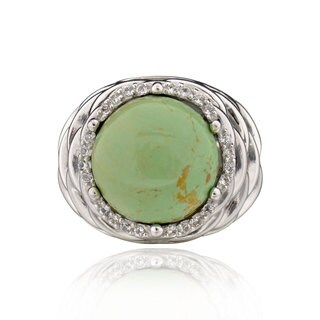 Sterling Silver Round Turquoise and White Topaz Ring (China)