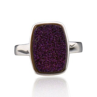 Sterling Silver Rectangle Purple Druzy Ring (China)