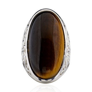 Sterling Silver Oval Tiger Eye Ring (China)