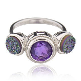 Sterling Silver Round Amethyst Ring