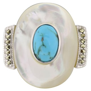 Sterling Silver Oval Mother of Pearl and Turquoise Ring (China)