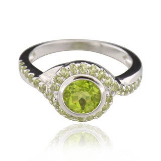 Sterling Silver Round Peridot Ring (China)