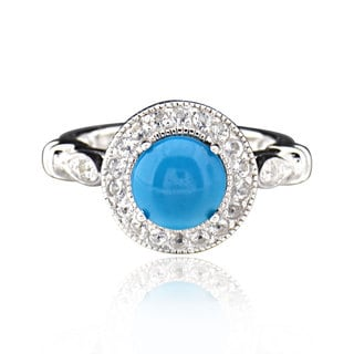 Sterling Silver Round Turquoise and White Topaz Ring