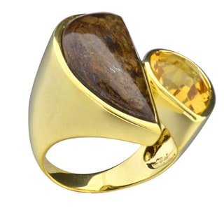 Brass Gold Plated Half Moon Bronzite and Citrine Ring (China)