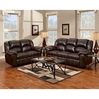Brandan Bonded Leather Dual Reclining Sofa and Loveseat, Brown