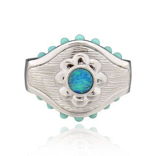 Sterling Silver Round sync Opal and Turquoise Ring (China)