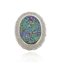 Sterling Silver Oval Rainbow Druzy and White Topaz Ring (China)
