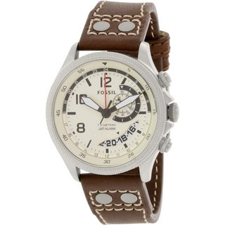 Fossil Men's FS5043 Brown Leather Analog Quartz Watch