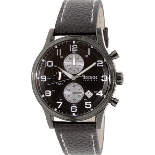 Hugo Boss Men's 1513066 Black Leather Quartz Watch