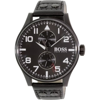 Hugo Boss Men's Aeroliner 1513083 Black Leather Quartz Watch