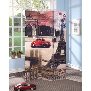 Trudy 3-Panel Wooden Paris Scene Screen