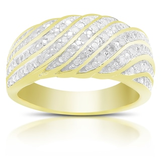 Finesque Gold Over Sterling Silver 1/4 ct TDW Diamond Ring