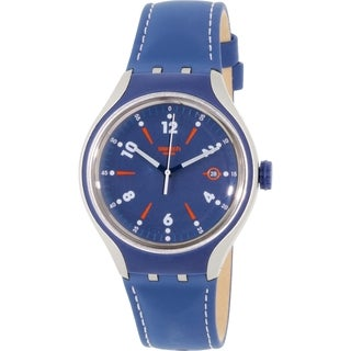 Swatch Men's Irony YES4000 Blue Leather Swiss Quartz Watch