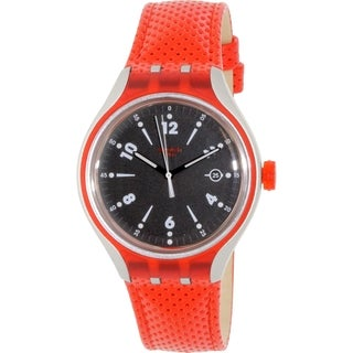 Swatch Men's Irony YES4001 Red Leather Swiss Quartz Watch