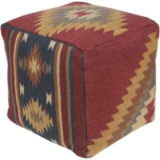 Chevron Joey Square Wool 18-inch Pouf