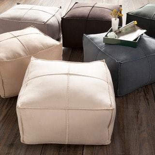 Solid Olga Square Polyester 24-inch Pouf