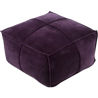 Solid Rory Square Cotton Velvet 24-inch Pouf