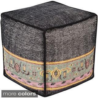 Geometric Zuri Square Wool 18-inch Pouf
