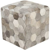 Geometric Zeke Square Hair On Hide 18-inch Pouf