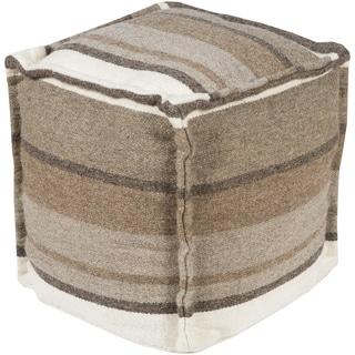 Striped Zane Square Wool 18-inch Pouf