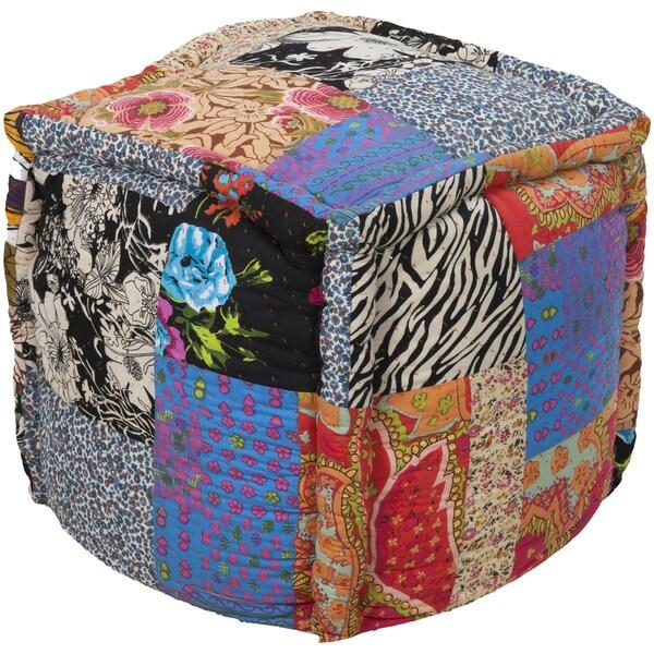 Geometric West Square Cotton 18-inch Pouf