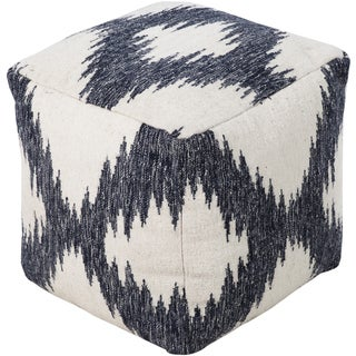 Ikat Sion Square Wool 18-inch Pouf