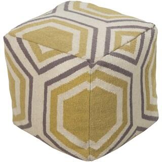 Geometric Sete Square Wool 18-inch Pouf