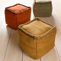 Solid Rosa Square Jute 18-inch Pouf