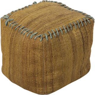 Solid Rosa Square Jute 18 Inch Pouf Option Gold