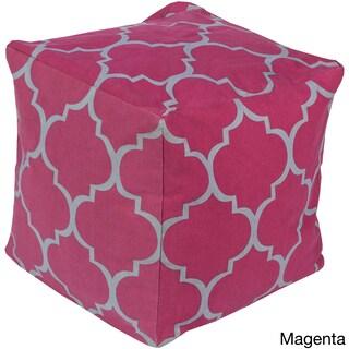 Geometric Nari Square Cotton 18-inch Pouf (Option: Pink)