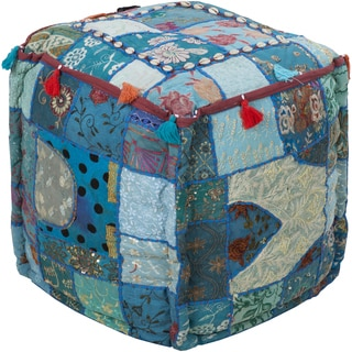 Geometric Nadi Round Cotton 18-inch Pouf
