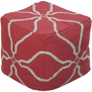 Floral Malo Square Wool 18-inch Pouf