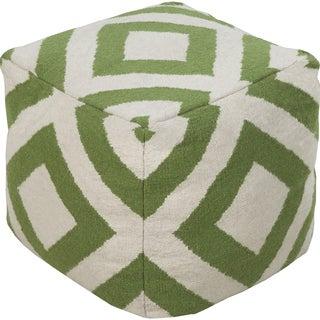 Geometric Lyon Green Square Wool 18-inch Pouf