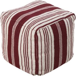 Striped Luna Square Wool 18-inch Pouf