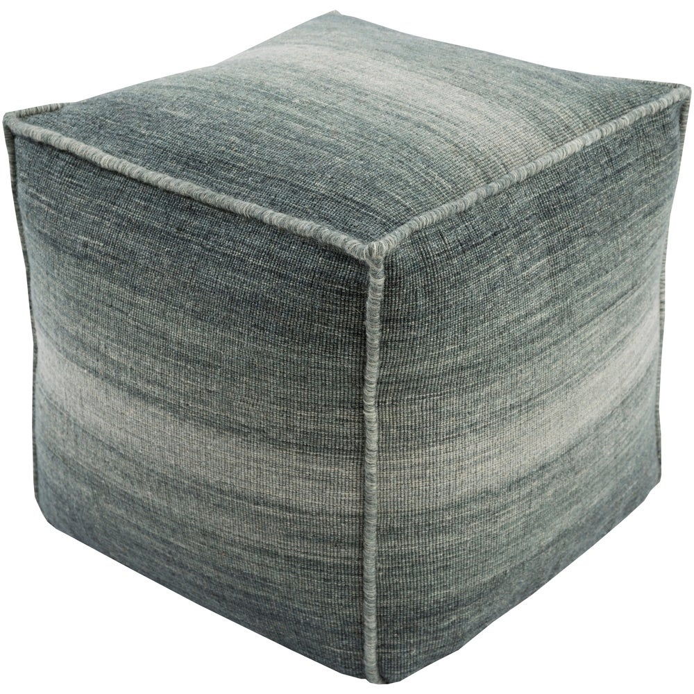 Shop Solid Laon Square Wool 18-inch Pouf - Overstock - 10439915