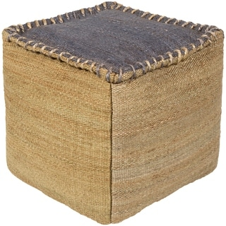 Solid Lami Square Jute 18-inch Pouf