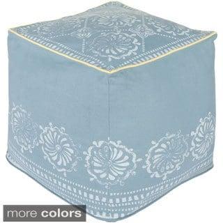 Floral Kash Square Cotton 18-inch Pouf