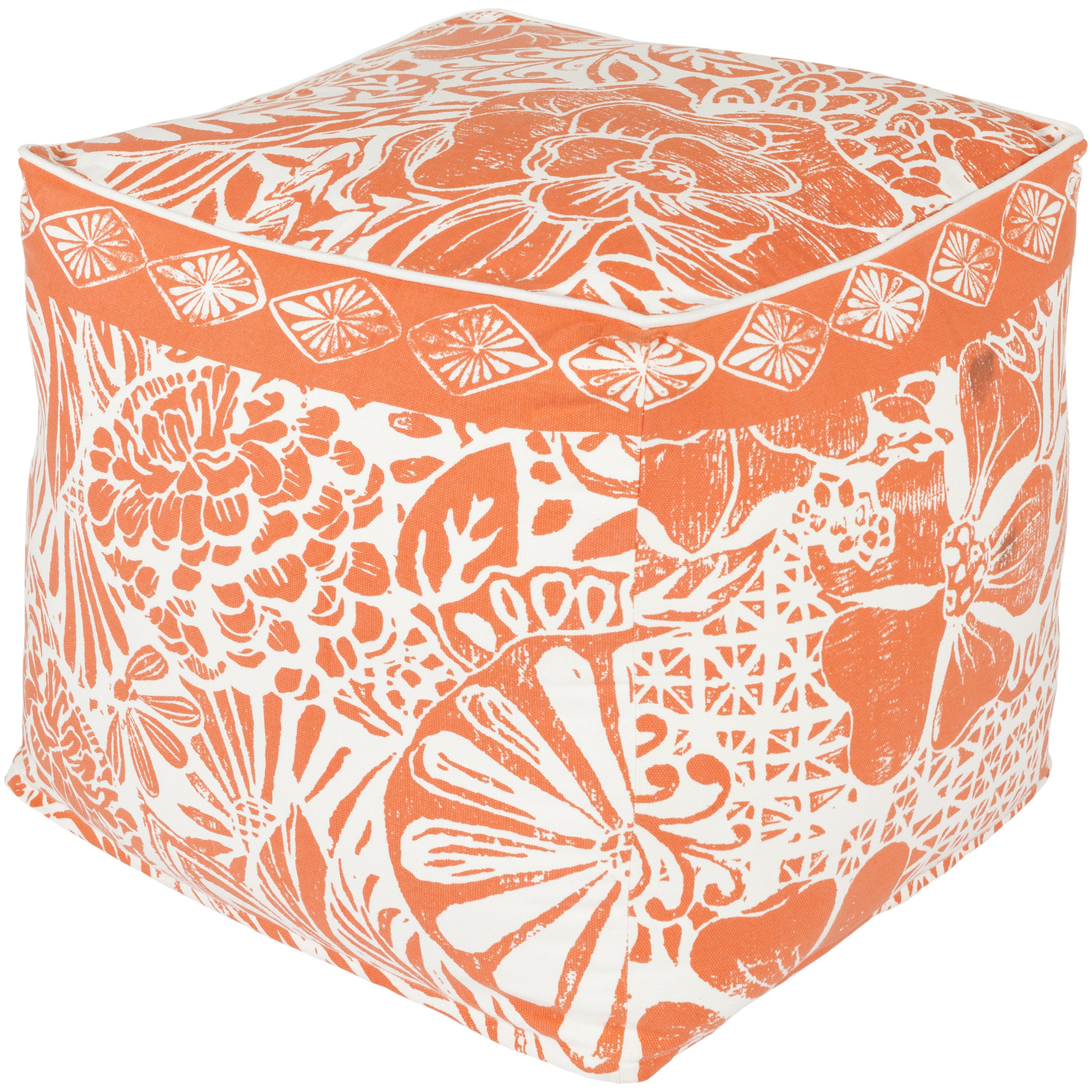 SURYA Floral Jixi Square Cotton 18-inch Pouf (Red), Size ...