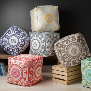 KD Spain: Floral Hart Square Cotton 18-inch Pouf