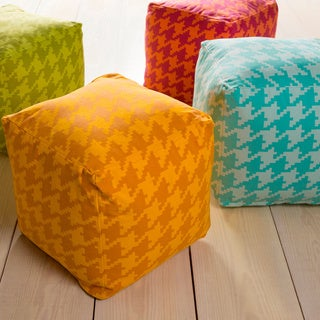 Houndstooth Gore Square Cotton 18-inch Pouf