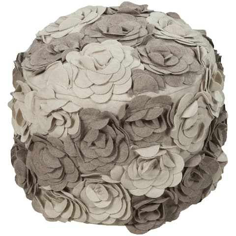 Floral Dole Round Wool 18-inch Pouf