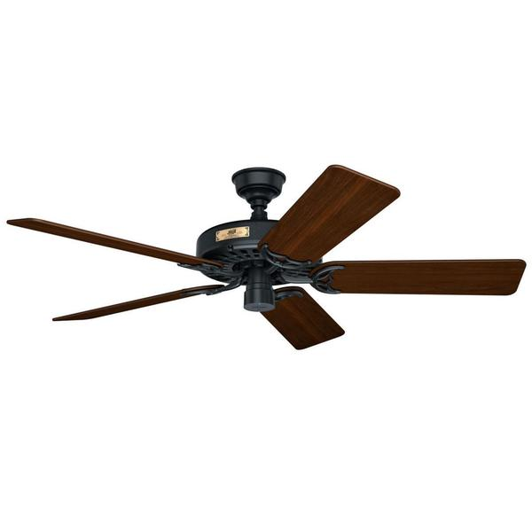 "52"" Hunter Original Outdoor Ceiling Fan with Pull Chain, Damp Rated - Matte Black"