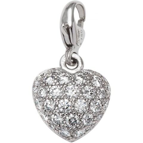 18k White Gold 1/2ct TDW Diamond Heart Motif Cartier Estate Baby Charm (F-G, VS1-VS2)